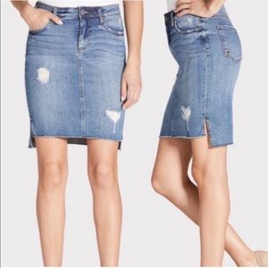 Kut From the Kloth Connie Distressed Denim Skirt